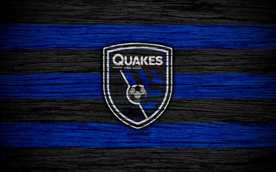 San Jose Earthquakes, 4k, MLS, wooden texture, Western Conference, football club, USA, San Jose Earthquakes FC, soccer, logo, FC San Jose Earthquakes