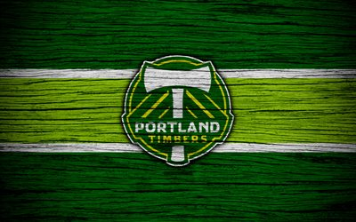 Portland Timbers, 4k, MLS, wooden texture, Western Conference, football club, USA, Portland Timbers FC, soccer, logo, FC Portland Timbers