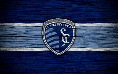 Sporting Kansas City, 4k, MLS, wooden texture, Western Conference, football club, USA, Sporting Kansas City FC, soccer, logo, FC Sporting Kansas City