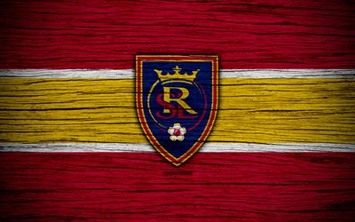Real Salt Lake, 4k, MLS, wooden texture, Western Conference, football club, USA, Real Salt Lake FC, soccer, logo, FC Real Salt Lake