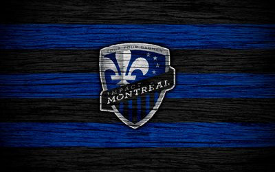 Montreal Impact, 4k, MLS, wooden texture, Eastern Conference, football club, USA, Montreal Impact FC, soccer, logo, FC Montreal Impact