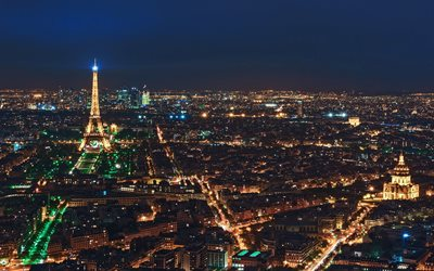 Paris, night landscape, cityscape, Eiffel Tower, city lights, capital of France, night, evening, France