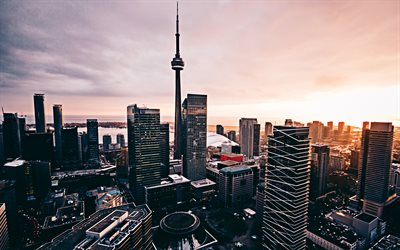 4k, Toronto, sunset, CN Tower, modern buildings, Canada, capital of Ontario, North America, cityscapes