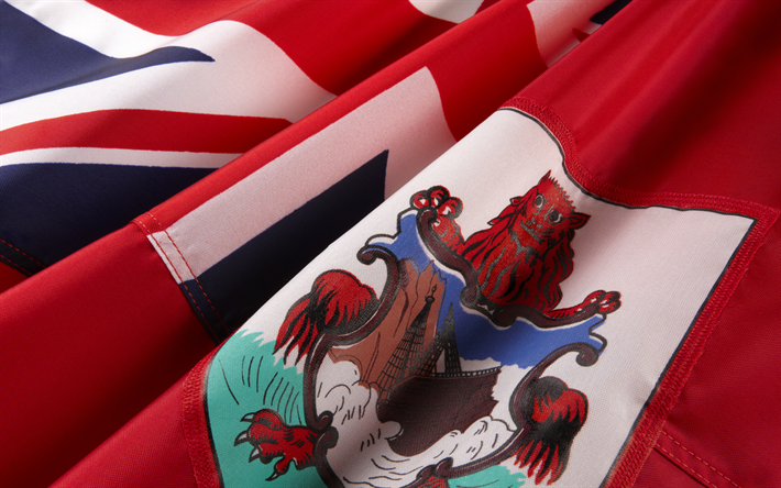 Flag of Bermuda, red silk flag, national symbol, Bermuda