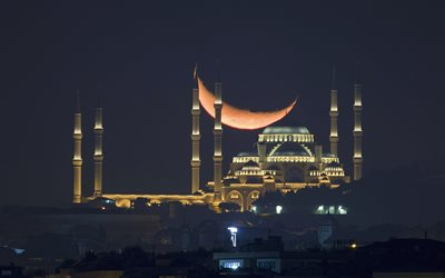 Sultan Ahmed Mosque, Blue Mosque, night, big moon, Turkish mosque, Istanbul, Turkey