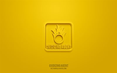Oxidizing agent 3d icon, yellow background, 3d symbols, Oxidizing agent, Warning icons, 3d icons, Oxidizing agent sign, Warning 3d icons, yellow warning signs