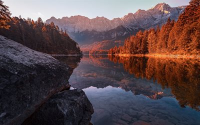 mountain lake, Alps, mountain landscape, evening, sunset, mountains, Bavaria, Germany