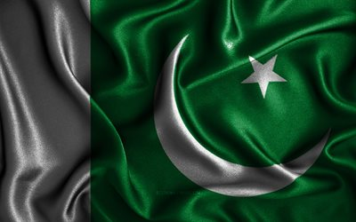 Pakistani flag, 4k, silk wavy flags, Asian countries, national symbols, Flag of Pakistan, fabric flags, Pakistan flag, 3D art, Pakistan, Asia, Pakistan 3D flag