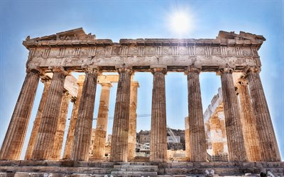 Parthenon, Athenian Acropolis, Temple, ruins, Ancient Greek temple, Athens, Greece