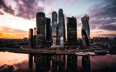 Moscow City, modern architecture, skyscrapers, Russia, sunset, Moscow
