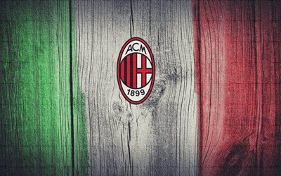 AC Milan, logo, football club, Calcio, flag of Italy, Italian flag