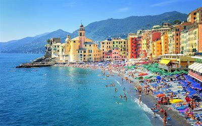 Camogli, Genoa, Summer, beach, resort, tourism, mountains, Italy