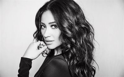 Shay Mitchell, Portrait, monochrome, brunette, beautiful woman, canadian actress