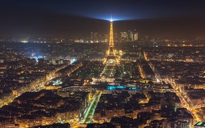 Night, Eiffel Tower, Paris, France, city lights