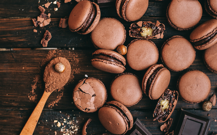 chocolate macaroons, biscuits, chocolate biscuits, sweets, baked goods
