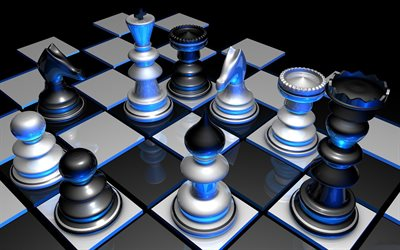 3d chess, neon light, 3d chessboard, blue light, 3d shapes