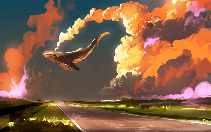 flying whale, clouds, sunset, road, drawing, creative, whales