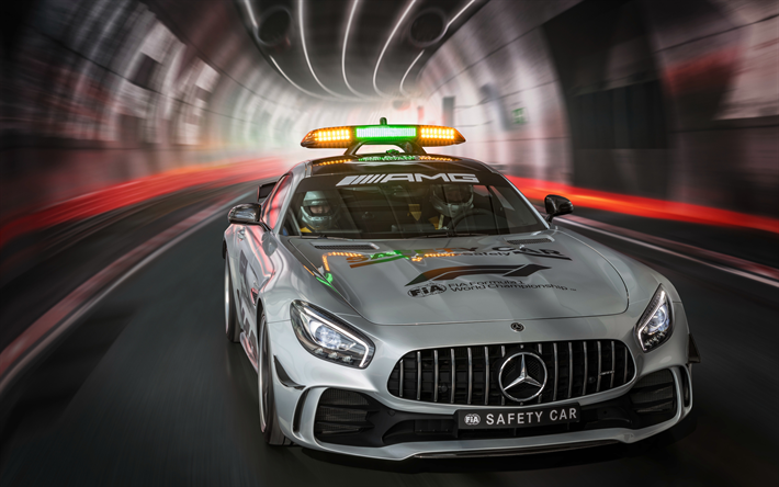 Mercedes-AMG GT R F1 Safety Car, 4k, tunnel, Formula 1, 2018 cars, front view, F1 Safety Cars, F1, Mercedes-AMG GT R, Mercedes