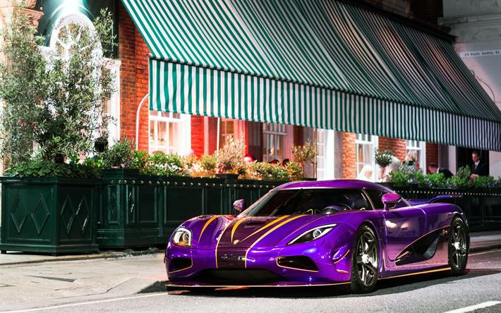 Koenigsegg Agera R Zijin 4k Steet 2013 Cars Hypercars Purple