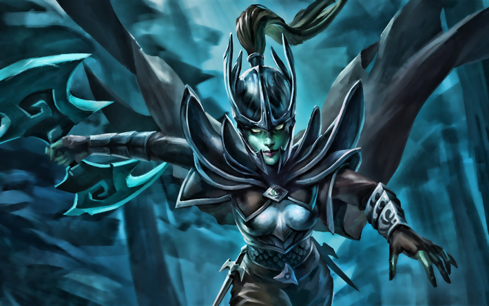 Phantom Assassin, female characters, Dota 2, darkness, artwork, Dota2, Phantom Assassin Dota