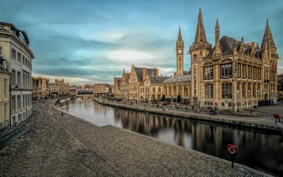Graslei, Ghent, Belgian city, evening, sunset, beautiful architecture, Belgium