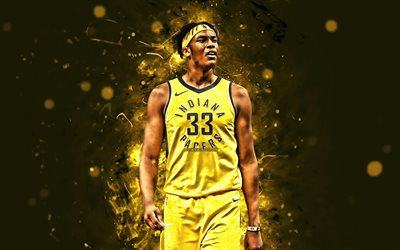 Myles Turner, 4k, basketball stars, NBA, Indiana Pacers, yellow uniform, Myles Christian Turner, abstract art, basketball, neon lights, creative, USA
