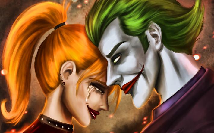 Download Wallpapers Joker And Harley Quinn Artwork