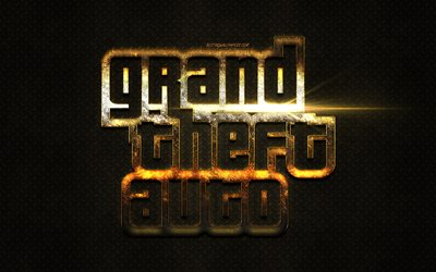 GTA logo, golden glitter logo, golden emblem, Grand Theft Auto, popular games, metal background, creative art, GTA
