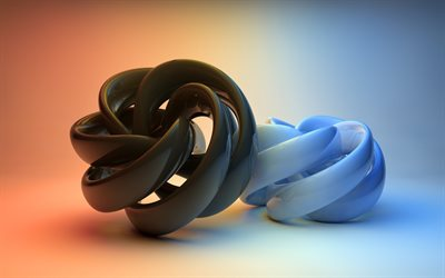 3d figures, 3D spiral, black 3D glass objects, 3d art, black and white concepts