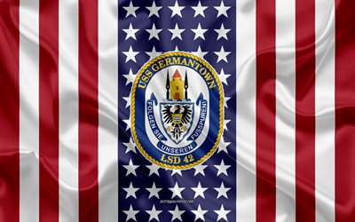 USS Germantown Emblem, LSD-42, American Flag, US Navy, USA, USS Germantown Badge, US warship, Emblem of the USS Germantown