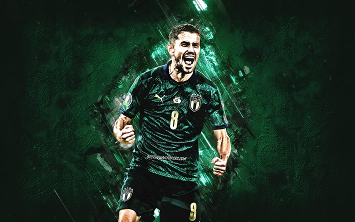 Jorginho, Italy national football team, portrait, Italian football player, midfielder, Italy, football, Jorge Luiz Frello Filho, green stone background