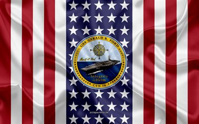 USS Gerald R Ford Emblem, CVN-78, American Flag, US Navy, USA, USS Gerald R Ford Badge, US warship, Emblem of the USS Gerald R Ford