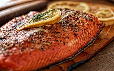 fried salmon, fried fish, salmon steak, fish dishes, salmon with lemon