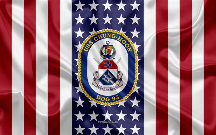 USS Chung Hoon Emblem, DDG-93, American Flag, US Navy, USA, USS Chung Hoon Badge, US warship, Emblem of the USS Chung Hoon