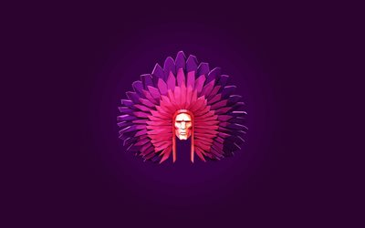Injun, creative, minimal, violet backgrounds, artwork, Injun minimalism, indian chief, drawing injun, leader of indians