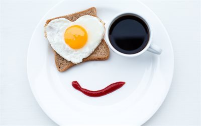 breakfast, smile, coffee, sandwich