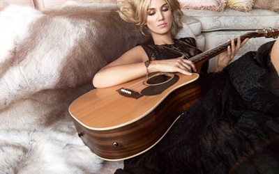 Delta Goodrem, Australian singer, woman with guitar, beautiful woman