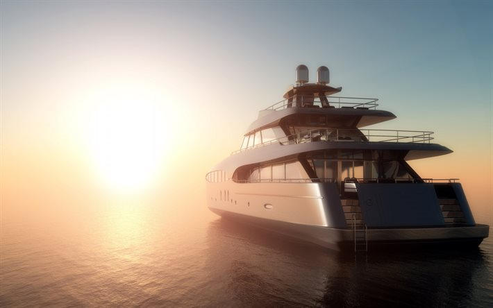 Sea, sunrise, luxurious yacht, waves, 3d yacht