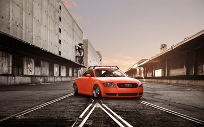 low rider, Audi TT, stance, tuning, orange tt, Audi