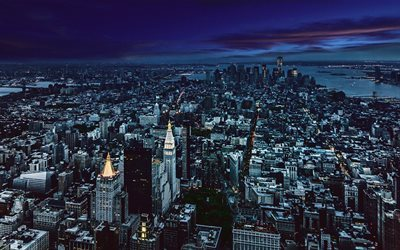 New York, nightscape, skyscrapers, America, USA