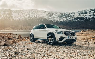 Mercedes-Benz GLC, AMG, 4MATIC, 2018, white GLC-Class, exterior, front view, new white GLC, tuning, mountain river, photosession, German cars, Mercedes