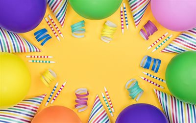 Happy Birthday, yellow background, multicolored inflatable balls, confetti, postcard template, congratulations