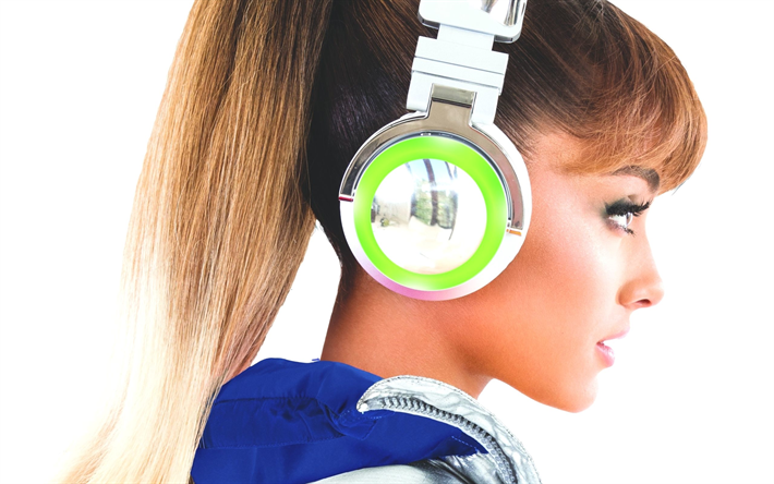 Ariana Grande, American singer, new green headphones, photoshoot, portrait, American star