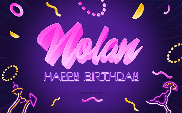 Happy Birthday Nolan, 4k, Purple Party Background, Nolan, creative art, Happy Nolan birthday, Nolan name, Nolan Birthday, Birthday Party Background