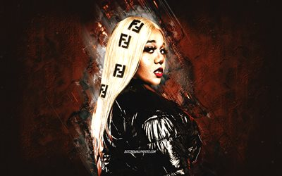 NoLay, Bella Gotti, portrait, British rapper, brown stone background, Natalie Athanasiou