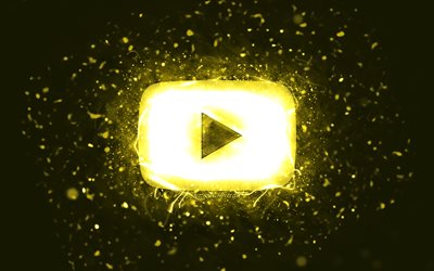 Youtube yellow logo, 4k, yellow neon lights, social network, creative, yellow abstract background, Youtube logo, Youtube