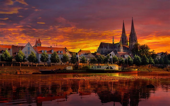 Regensburg Cathedral, 4k, sunset, embankment, summer, german cities, Europe, Germany, Regensburg, Cities of Germany, Regensburg Germany, cityscapes