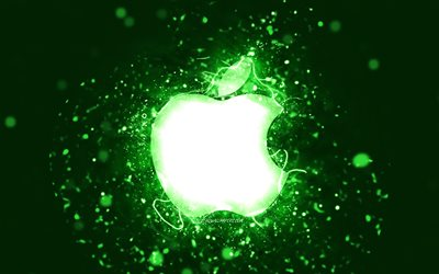 Apple green logo, 4k, green neon lights, creative, green abstract background, Apple logo, brands, Apple