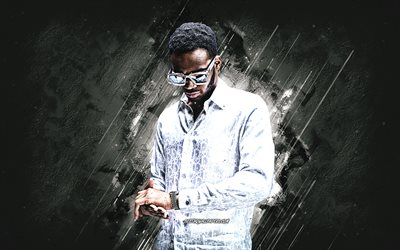 Not3s, British rapper, gray stone background, portrait, Not3s art, grunge art, Lukman Odunaike