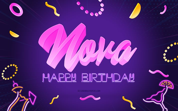 Happy Birthday Nova, 4k, Purple Party Background, Nova, creative art, Happy Nova birthday, Nova name, Nova Birthday, Birthday Party Background